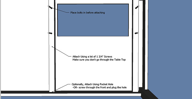 how to make a sewing table: Drill Bolt Holes
