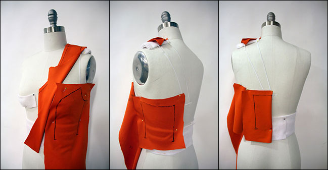 how to use a dress form: Begin draping